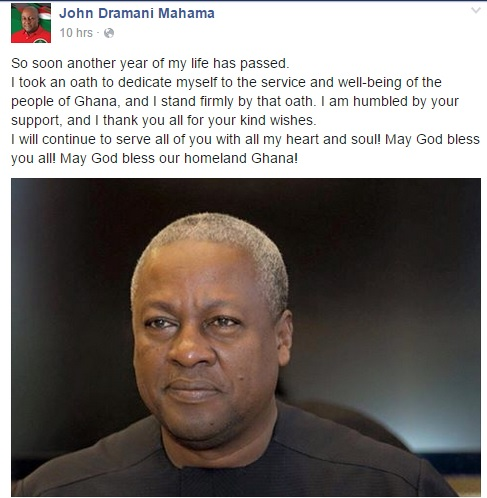President Mahama's Facebook Post
